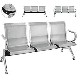 3-Seat Steel Waiting Room Chairs Guest Reception Bench Durab