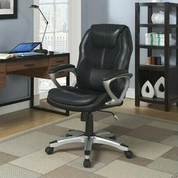 Serta Works Executive Office Chair, Faux Leather and Mesh, B