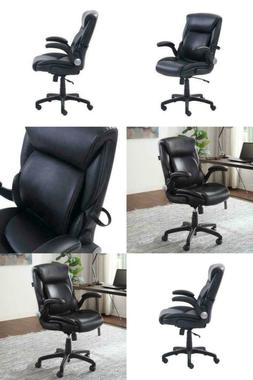 Serta Air Lumbar Bonded Leather Manager Office Chair, Black