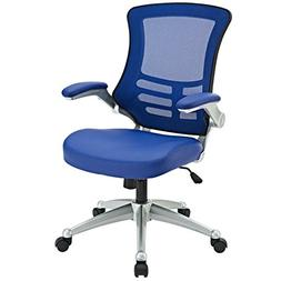 Modway Attainment Mesh Back And Blue Vinyl Modern Office Cha