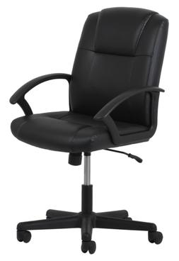 High Back Black Leather Executive Office Chair with Arms Off