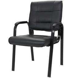 Waiting Room Office Desk Side Chairs Black Leather Guest Cha