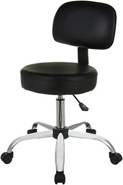 drafting stool with back cushion - black