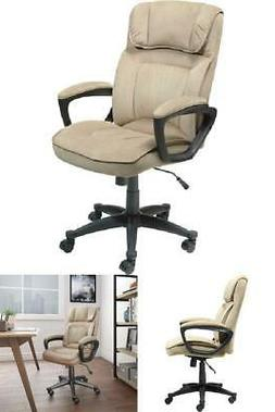 Executive Microfiber Office Chair Light Beige Arms Upholster