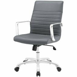 Modway Finesse Ribbed Faux Leather Mid Back Office Chair in