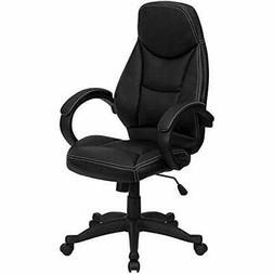 Flash Home Office Desk Chairs Furniture High Back Black Leat