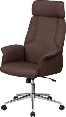 HIGH BACK BROWN FABRIC EXECUTIVE SWIVEL OFFICE CHAIR WITH CH