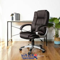 High Back Office Chair Brown PU Soft Leather Executive Ergon