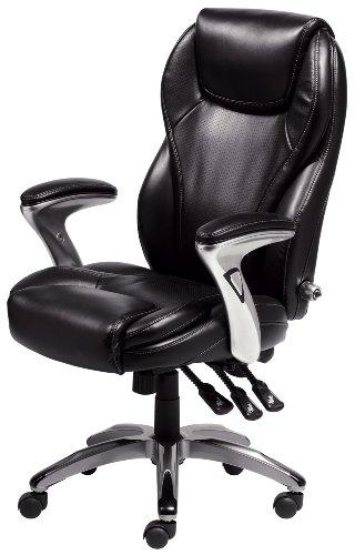 Serta Bonded Leather Executive Chair, Multi-Paddle, Black