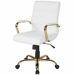 Flash Furniture Mid Back Leather Office Swivel Chair in Whit