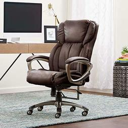 Serta Works Executive Office Chair, Bonded Leather, Brown Br
